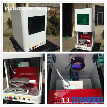 Máquina de grabado de láser de fibra de acero inoxidable en tarjeta de identificación de metales Protección de diseño de cubierta Syngood 100x100mm Raycus 10W 20W 30W