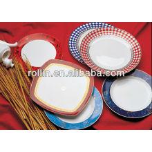 Fine White Porcelain Food Safe Hotel Dinner Set, hôtel en porcelaine