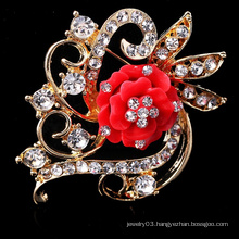 New style fashion red flower elegant korea brooch