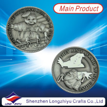 Medalla conmemorativa conmemorativa más nueva del oro de la plata del oro antiguo de 2013 medallas con su propio diseño del logotipo, moneda grabada en relieve 3D con el embalaje de la caja del terciopelo para los recuerdos