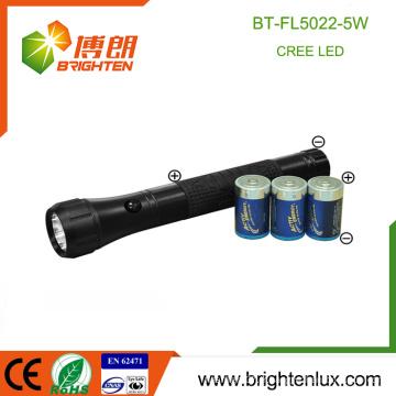 Alibaba Vente Batterie 3D haute puissance à grande puissance Ultra Bright 5w OEM Meilleure lampe torche led autodéfense avec poignée en caoutchouc