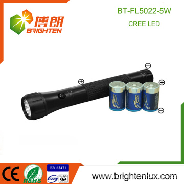 Alibaba Sale High Power Heavy Duty 3D Battery Operated Ultra Bright 5w OEM Best self-defense led torch light with rubber grip