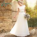 Bateau Cap Sleeve Court Train Satin 2017 Beach Wedding Dress