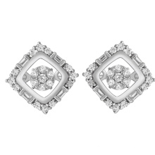 Simple Design 925 Silver Dancing Diamond Stud Earrings Jewelry