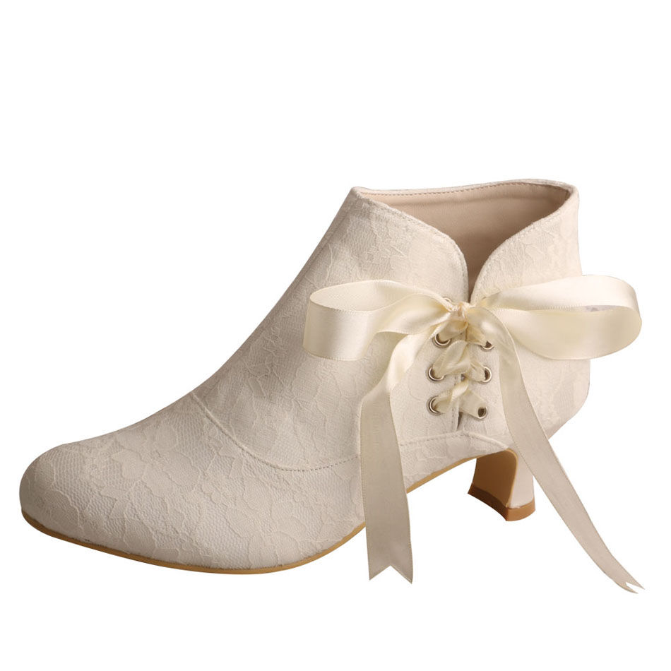 White Wedding Booties