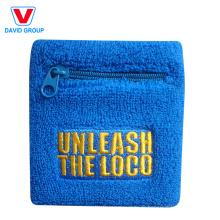 100% coton personnalisé bracelet de poche avec fermeture à glissière
