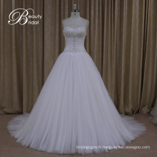 Robes de mariée Crystal Bow Sash Lace Bridal A Line Gown