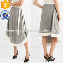 Asymmetric Hem Grey And White Linen And Ramie Midi Summer Skirt With Belt Manufacture Wholesale Fashion Women Apparel (TA0054S)