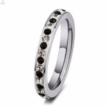 Anéis de sinete de pedra preta de aço inoxidável de design simples