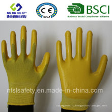Полиэстер оболочки с Нитрил покрытием рабочие перчатки (сл-N105)
