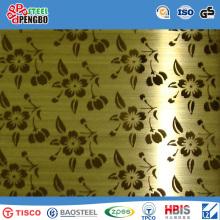 Folha de aço inoxidável decorativa revestida da cor com GV Ios