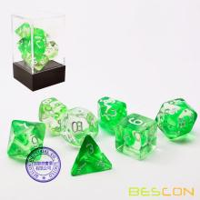 Bescon Crystal Grass 7-pc Набор для игры в кости Poly Poly, Bescon Polyhedral RPG Набор для игры в кости Crystal Grass