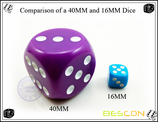 Comparison of a 40MM and 16MM Dice