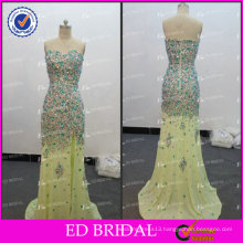 ED Sexy Sparkle Wholesale Sweetheart Neckline Low Back Chiffon Crystal Beaded Side Slit Evening Dress 2017