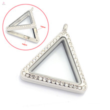 33mm silver/gold/rose gold triangular crystal stainless steel jewelry glass lockets, magnetic photo floating charms locket