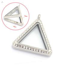 33mm prata / ouro / rosa de ouro vidro triangular medalhões de vidro jóias de aço inoxidável, foto magnética flutuante encantos medalhão