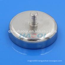 Ni-Cu-Ni coated permanent neodymium thread pot magnets