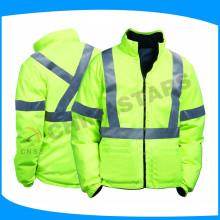 Alta visibilidade jaqueta reflexiva verde com 100 lavar fita reflexiva