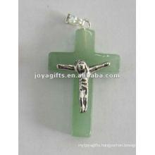 Green Aventurine Stone Cross Pendant with Jesus