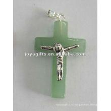 Зеленый крест-накид из авантюринского камня с Иисусом