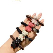 Korean Cartoon Bear Hair Bow Tie Elastic Band Scrunchies Ring for Girl Ponytail Head Rope Rubber Fashion Accessori Dropshipping