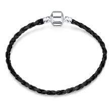 Moda simples moda pulseira feminina feita de couro pulseira de couro bracelete de couro preto