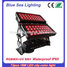 72pcs 18w IP65 DMX 6 in 1 rgbwauv outdoor led wall washer