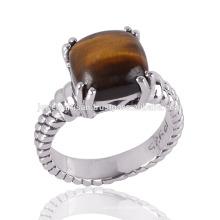 Tiger Eye Gemstone dans un délicat Prong Silver Ring Disponible au meilleur prix