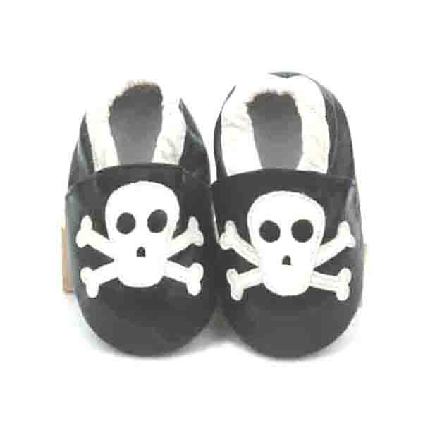 2016 Halloween Skull Style Genuine Leather Soft Infant Shoes Baby