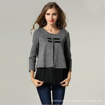 European Style Fashion Ladies Fake Two-Piece Outerwear (50014)