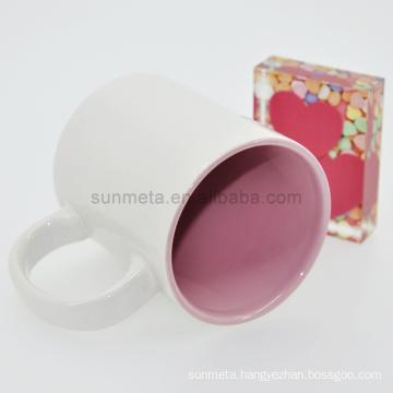 Sunmeta 11oz sublimation inner color mug pink