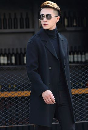 Men's Cashmere Pea Coat -8