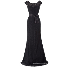 Kate Kasin Cap Sleeve Crew Neck V-Back Black Lace Ball Gown Evening Prom Party Dress 8 Size US 2~16 KK000203-1