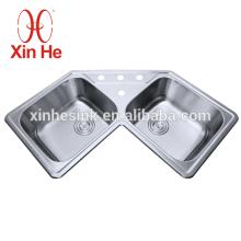 Dissipador de canto de aço inoxidável usado comercial da cozinha de CUPC 304