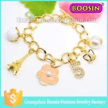 Pulseira elegante com número de cristal em liga bracelete com corrente
