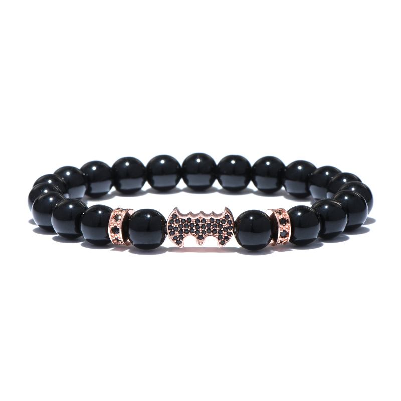 Bat Charm Natural Agate Stone Beads Mens Bracelets