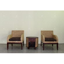 Natural Water Hyacinth Armchairs Set for Indoor Furniture