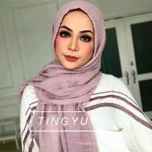 Las mujeres musulmanas de moda hijab wholsale musulmán bufanda arruga burbuja hijab