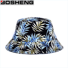 Vente en gros Custom Cheap Leaf Pattern Print Plain Bucket Hats