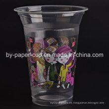 Taza de plástico desechable de patrón hermoso