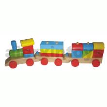 Tren de apilamiento de madera con bloques de colores (80099)