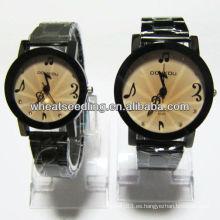 Relojes de lujo conjunto amante regalo de vacaciones acero inoxidable banda de reloj unisex