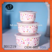 Cuenco personalizado con diseño, cuenco de cerámica al por mayor, cuenco de cerámica con cubierta de plástico,