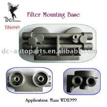 Alumínio fundição de peças para base de montagem de filtro de óleo remoto