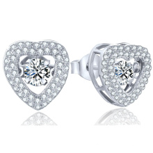 Heart 925 Silver Stud Earring Micro Setting Jewelry Dancing Dimond