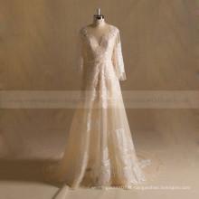 Elegant A-line manches longues Boho robe de mariée en dentelle avec train chapelle
