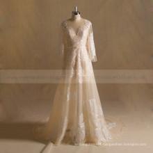 Elegant A-line Long Sleeves Boho Lace Wedding Dress With Chapel Train