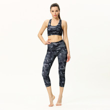2021 New Arrival Flexible Polyester Sportswear Print Womens Vest Cropped Pants Spring Yoga Sets Fitness