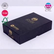 Pacote de caixa de presente de papel preto de alta qualidade para livro