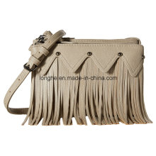 Fashion Two-Compartment Fringe and Stud Detail Handbag (ZXS0087)